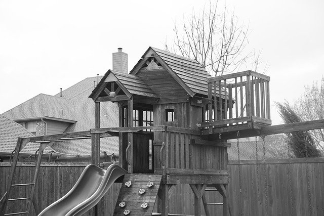 treehouse with a slide